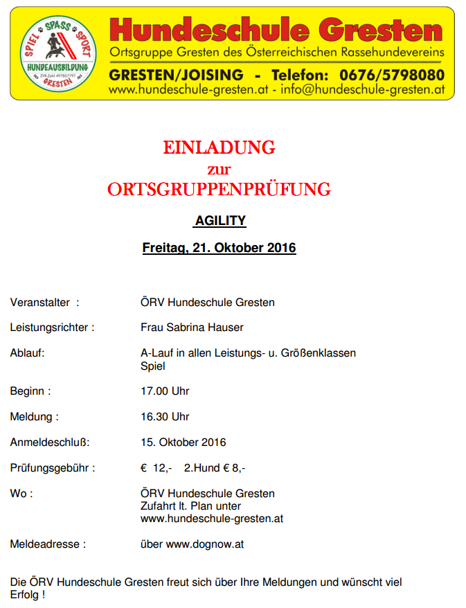 Ausschreibung OG Prüfung AG Gresten
