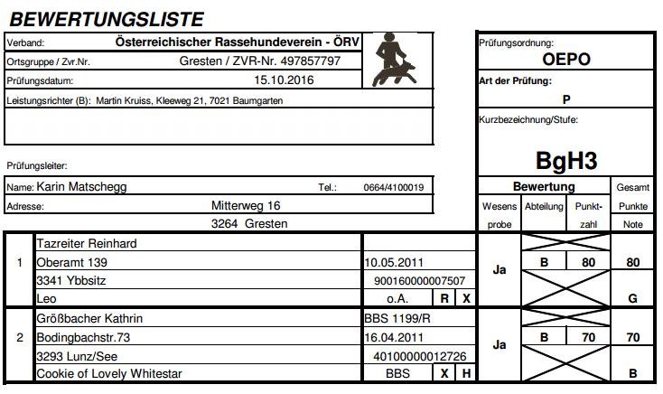 Bewertungslisten BgH3 OG Prüfung 15.10.2016
